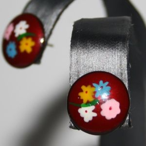Vintage red and gold flower earrings